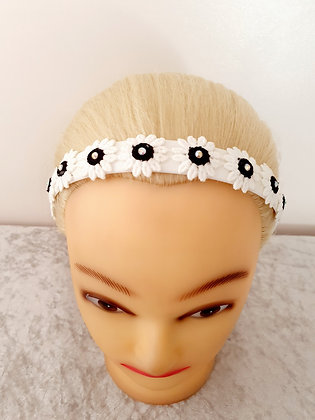 Black and White Daisies Head Band