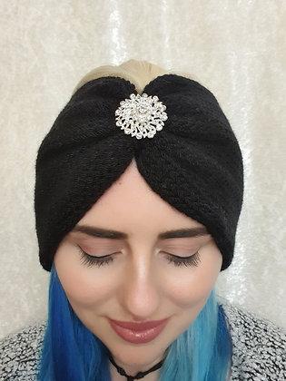 Black Double Width Knitted Ear Warmer