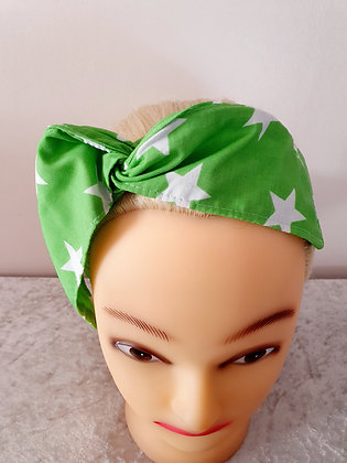 Green Stars Wired Hair Tie