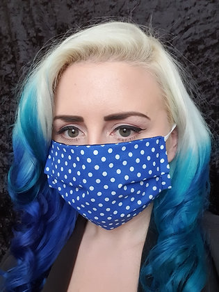 Royal Blue Polka Face Mask