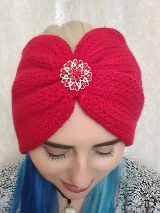Red Double Width Knitted Ear Warmer