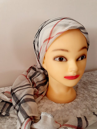Cream Check Large Head Scarf