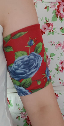 Blue Roses on Red - Picc Line Cover