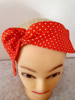 Red Polka Dot Small Wired Hair Tie