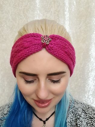 Dark Pink Pleat Knitted Head Band