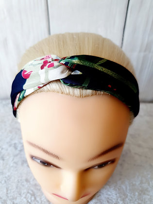 Navy Silk Floral Elasticated Head Band
