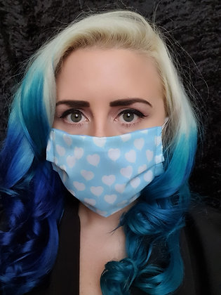 Blue Hearts Face Mask