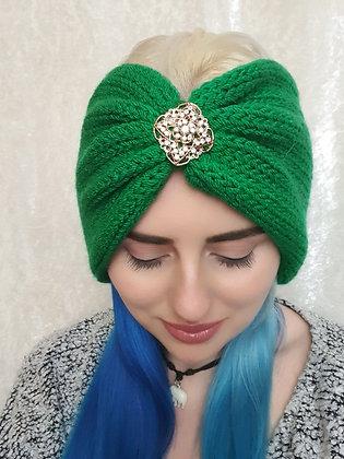 Emerald Double Width Knitted Ear Warmer