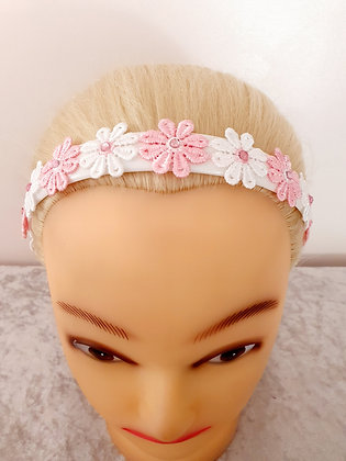 Pink and White Dasies Head Band