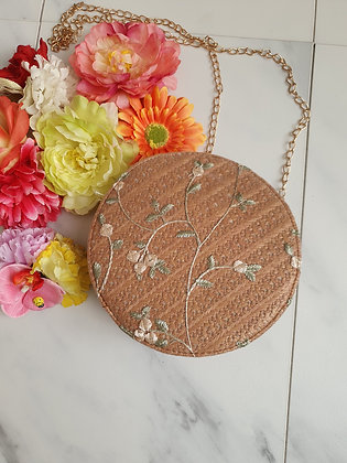 Embroidered Round Bag Brown