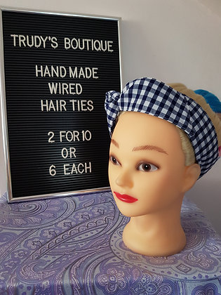 Navy Gingham Large - Wired Hair Tie