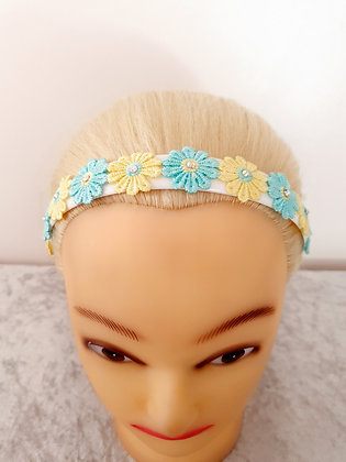 Blue and Yellow Daisies Head Band