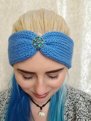 Denim Knitted Ear Warmer