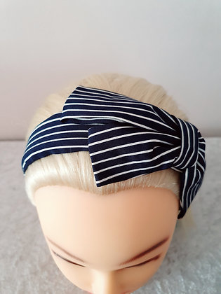 Navy Medium Striped Bowed Head Band