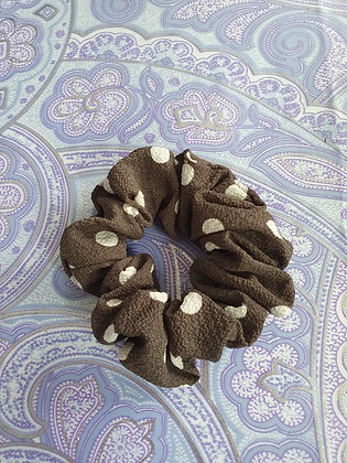 Hand Made Scrunchie - Grey Polka