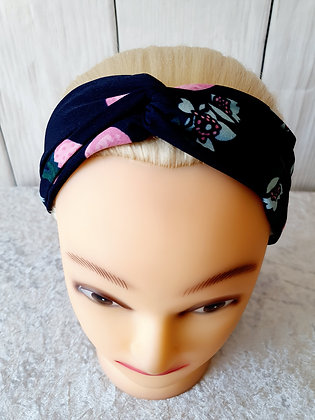 Pink Berries on Navy Elasticated Head Band