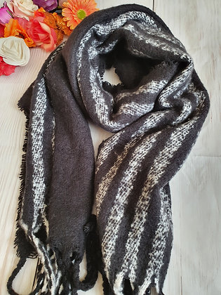 Black and White Stripe Super Soft Winter Scarf