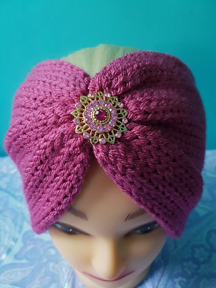 Pink Plum Double Width Knitted Head Band