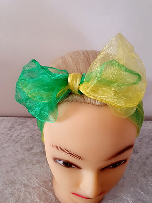 Two Tone Lemon and Lime Chiffon Head Scarf