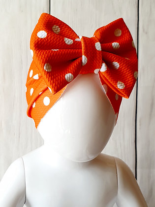 Burnt Orange Polka Head Wrap