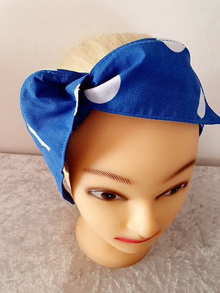 Large Cobalt Blue Polka Dot Wired Hair Tie