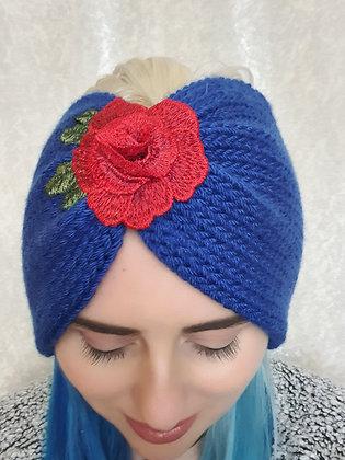 Rose Dar Blue Double Width Knitted Ear Warmer