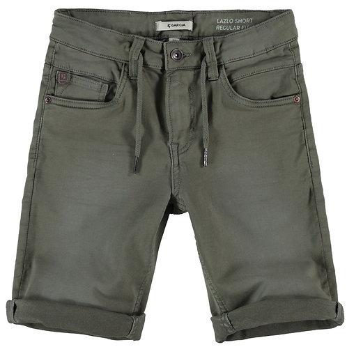 Dunkelgrüne JOG Jeansshorts mit Zugband