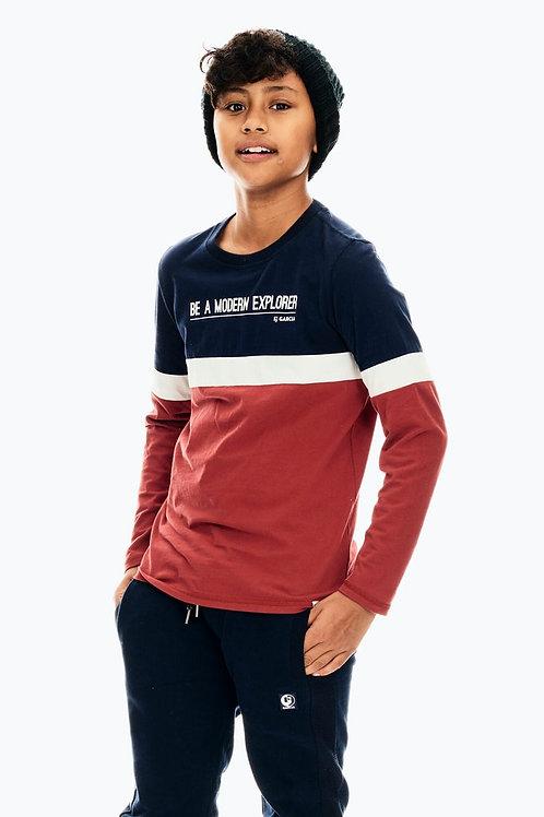 Dunkelblaues Langarmshirt mit Colorblocking-Effekt