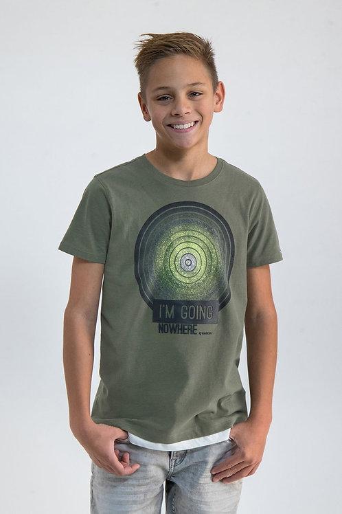 Khakigrünes T-Shirt mit Aufdruck