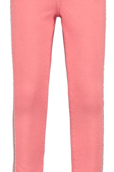 Rosa gefärbte Jeans mit Metallicakzent
