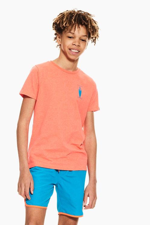 Oranges T-Shirt mit Brustprint