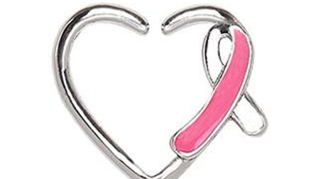 316L Stainless Steel Pink Ribbon Heart Cartilage Earring