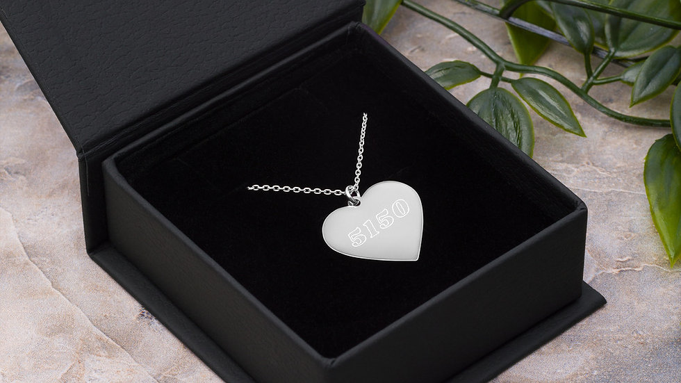 5150 Engraved Silver Heart Necklace