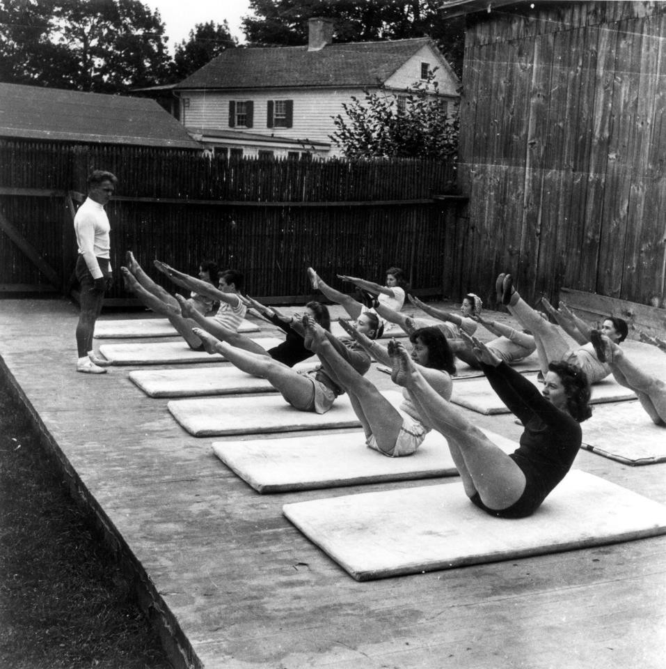 1920's Contrology class being lead by Joseph Pilates. Deanna Dewell teaches the same principals in her BASI Certified Pilates sessions at Heal in Motion, PT.