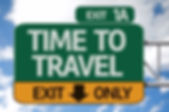 Time To Travel road sign with sky backgr
