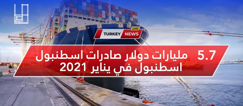 5.7 مليارات دولار صادرات اسطنبول في يناير 2021