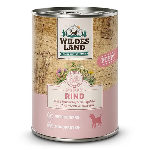 Wildes Land Puppy Rind mit Süßkartoffel 400g