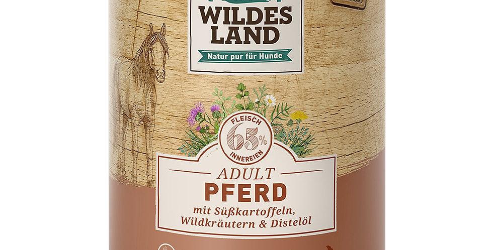 Pferd mit Süßkartoffeln, Wildkräutern und Distelöl