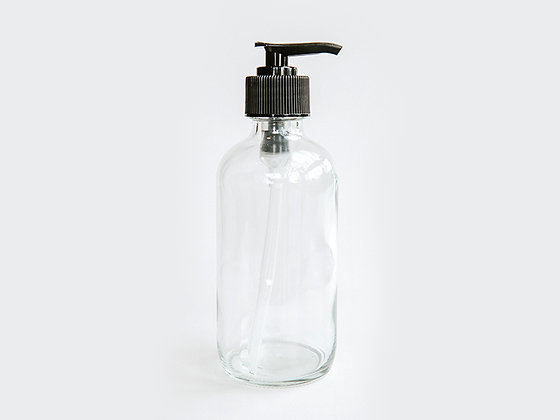Clear Glass Bottle w/Lotion Pump - 4 ounce