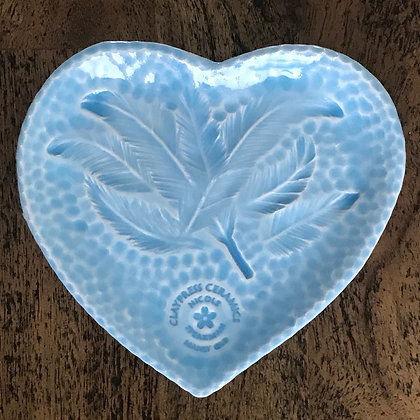 Baby Blue Feather Heart-Shaped Dish