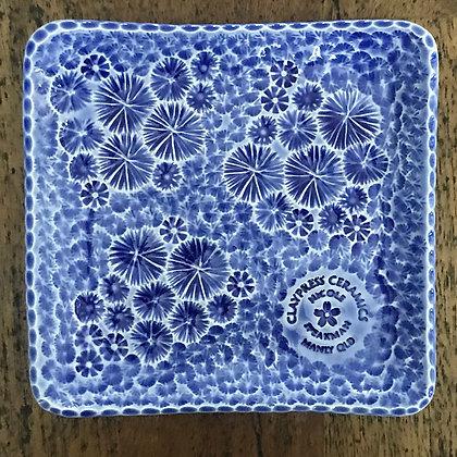 Royal Blue Floral Square Dish