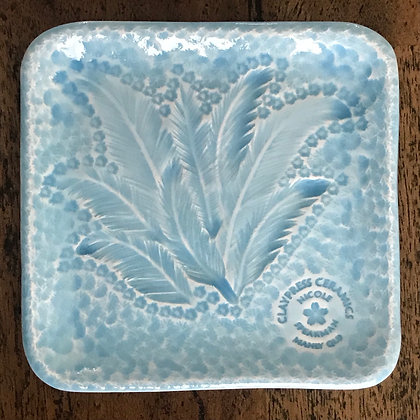 Baby Blue Feather Square Dish
