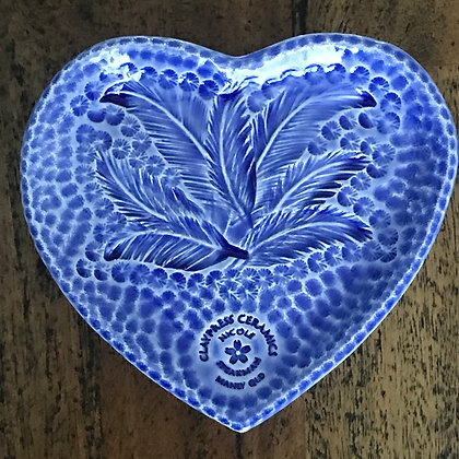 Royal Blue Feather Heart-Shaped Dish