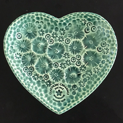Green Floral Heart-Shaped Dish