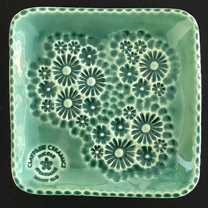 Green Floral Square Dish