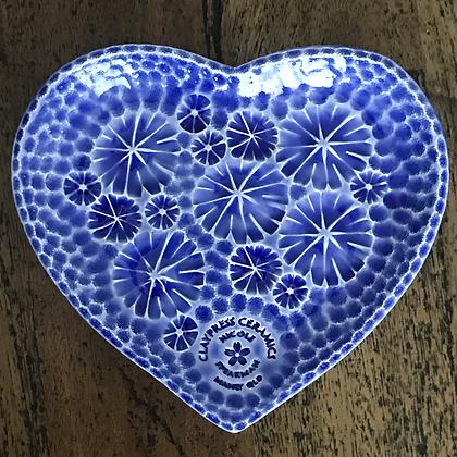 Royal Blue Floral Heart-Shaped Dish