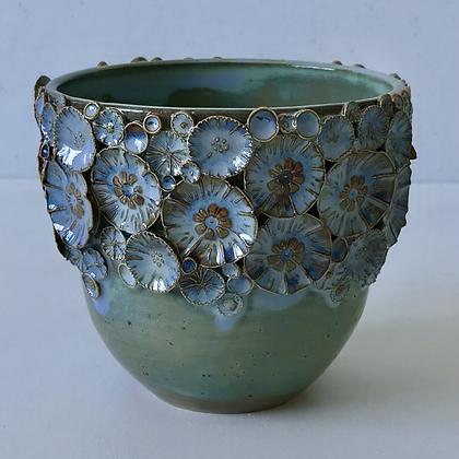 Blue/Brown Floral Sprig Vessel