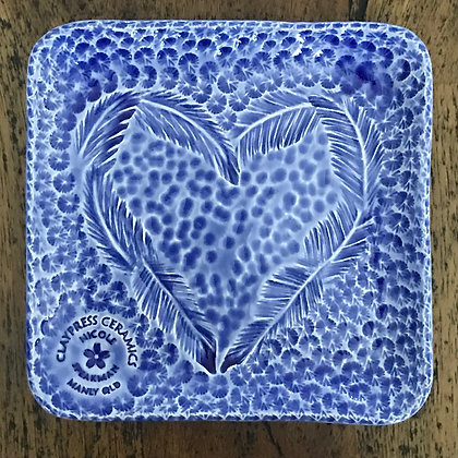 Royal Blue Feather Square Dish