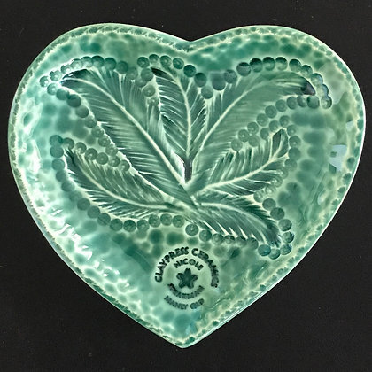 Green Feather Heart-Shaped Dish