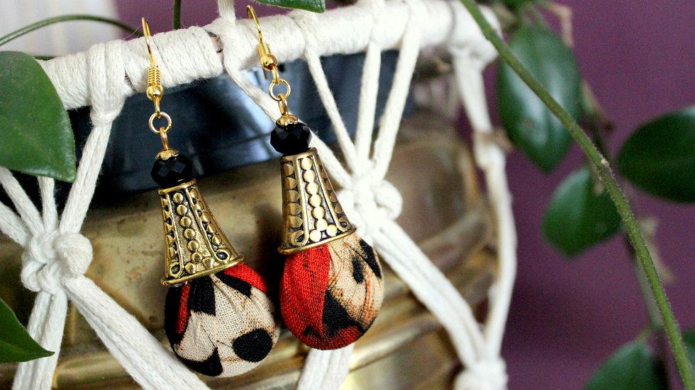 B.O pendante cône et tissu Batik